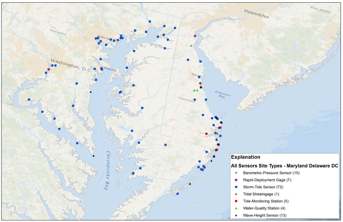 Map of proposed locations of storm surge sensor sites.